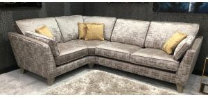Vincent Fabric Corner Sofa LHF Mink Grey With Mustard Cushions Ex-Display Showroom Model