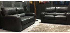 Lucca Semi Aniline Leather Sofa Set 2 + 2 Seater Dark Grey Ex-Display Showroom Model