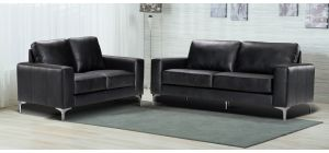 Oregon Black Bonded Leather 3 + 2 Sofa Set With Chrome Legs