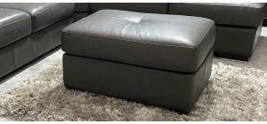 Venezia Semi Aniline Leather Footstool Footstool Dark Grey Ex-Display Showroom Model