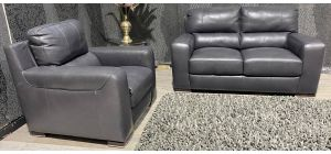 Lucca Grey Leather Static 2 Seater With Electric Armchair Sisi Italia Semi-Aniline With Wooden Legs Ex-Display Showroom Model 0137