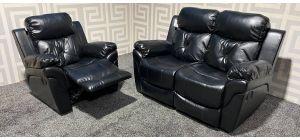 Gizelle Black Leathaire 2 + 1 Sofa Set Manual Recliner Ex-Display Showroom Model 0142