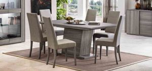 Futura Grey Sawmarked Oak 1.8m Dining Table With Six Cream Chairs
