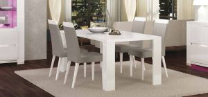 Elegance Diamond White 1.9m Dining Table With Six Luxury Chairs In Grey Microfiber