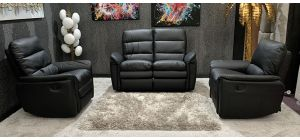 Saxton Recliners 2 + 1 + 1 Black Ex-Display Showroom Model (Armchairs have different Style Seat Backs, See Images) 46765