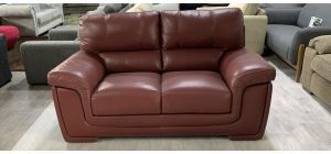 Majori Semi Aniline Leather Sofa 2 Seater Burgundy Ex-Display Showroom Model Small Scuff left front bottom, left arm slight pooling (see images) 46548