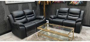 Contour Midnight Black Manual Reclining 2 + 2 + 1 Seater Leather Sofa Set