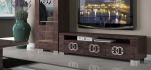 Prestige Warm Umber Birch Three Door TV Unit With Metal Logo Handles