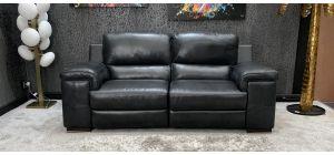 Steffano Electric Recliner Semi Aniline Leather Sofa 3 Seater Black Ex-Display Showroom Model 46731