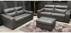 Venezia Semi Aniline Leather Sofa Set 3 + 2 Seater + Footstool Grey Ex-Display Showroom Model 46603