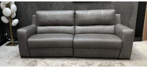 Lucca Semi Aniline 4 Seater Electric Recliner Grey With Contrast Stitching Ex-Display Showroom Model 46744