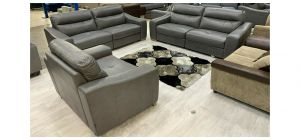 Lucca Semi Aniline Leather Sofa Set 4 + 4 + Loveseat Grey Ex-Display Showroom Model