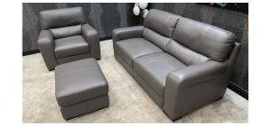 Lucca Grey Leather 3 + 1 + Footstool Sisi Italia Semi-Aniline Ex-Display Showroom Model 46812