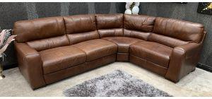 Lucca Brown RHF Leather Corner Sofa Sisi Italia Semi-Aniline Ex-Display Showroom Model 46831