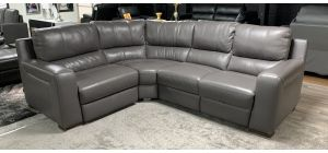 Lucca Grey LHF Leather Corner Sofa Electric Recliner Sisi Italia Semi-Aniline Ex-Display Showroom Model 46832