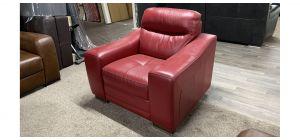 Venezia Red Leather Armchair Sisi Italia Semi-Aniline Ex-Display Showroom Model 46835