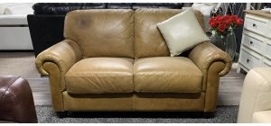 Camel Full-Aniline Leather Regular Sofa Mark On Left Top Cushion (see images) Ex-Display Showroom Model 46836