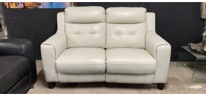 Iolino Ivory Leather Regular Sofa Electric Recliner Wooden Legs Ex-Display Showroom Model 46837