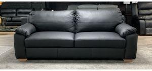 Black Large Leathaire Sofa Wooden Legs Ex-Display Showroom Model 46838