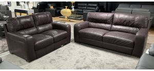 Lucca Ox-Blood 3 + 2 Sofa Set Sisi Italia Semi-Aniline Leather, Few Scuffs, Dent On Left Arm Of The 3 Seater (see images) Ex-Display Showroom Model 46840