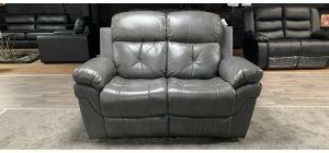 Gizelle Grey Bonded Leather Regular Sofa Manual Recliner Ex-Display Showroom Model 46841