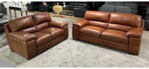 Majori Tan Leather 3 + 2 Sofa Set Sisi Italia Semi-Aniline. 3 Seater Right Side Bottom And Top Left Back Damage And Scuffs. 2 Seater Scuffs On Arm (see images) Ex-Display Showroom Model 46844
