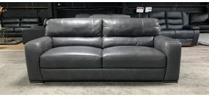 Lucca Dark Grey Semi-Aniline Leather Large Sofa Sisi Italia, Scuffs Left Arm Right Arm Front (see images) Ex-Display Showroom Model 46850