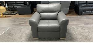 Grey Sisi Italia Semi-Aniline Leather Armchair With Light Wooden Feet Ex-Display Showroom Model 46852