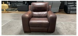 Lucca Brown Leather Armchair Electric Recliner Sisi Italia Semi-Aniline, Colour Fade Both Arms, Small Scuff On Right Arm Base (see images) Ex-Display Showroom Model 46853