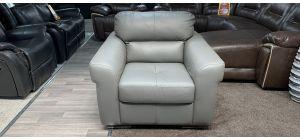 Grey Leather Armchair Sisi Italia Semi-Aniline Ex-Display Showroom Model 46854