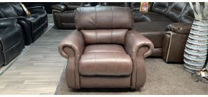 Brown Scroll Arm Leather Armchair With Wooden Legs, Bottom Front Right Few Scuffs (see images) Ex-Display Showroom Model 46855