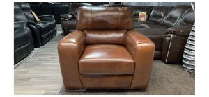 Lucca Brown Leather Armchair Sisi Italia Semi-Aniline, Right Arm Scratch, Rear Top 3Cm Scuff (see images) Ex-Display Showroom Model 46856