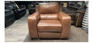 Lucca Brown Leather Armchair Electric Recliner Sisi Italia Semi-Aniline Few Small Scuffs (see images) Ex-Display Showroom Model 46859
