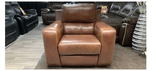 Lucca Brown Leather Armchair Electric Recliner Sisi Italia Semi-Aniline Small Scuffs Top Right Back (see images) Ex-Display Showroom Model 46861