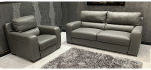 Lucca 3 Seater Static Sofa With Electric Recliner Armchair Sisi Italia Semi-Aniline Ex-Display Showroom Model 46881