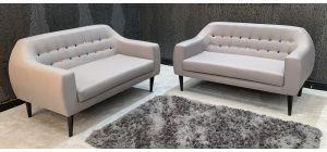 Twirl Light Grey Fabric 2 + 2 Sofa Set Slight Marks (see images) Ex-Display Showroom Model 46883_550