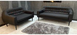 Twirl Black Fabric 3 + 2 Sofa Set Ex-Display Showroom Model 46885_549
