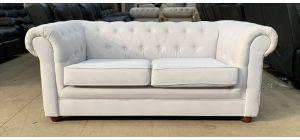Chesterfield Light Grey Fabric Regular Sofa Wooden Legs Ex-Display Showroom Model 46888
