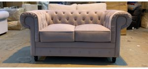Chesterfield Beige Fabric Regular Sofa Wooden Legs Ex-Display Showroom Model 46890_548