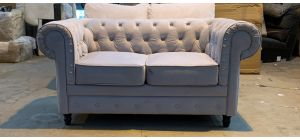 Chesterfield Light Grey Fabric Regular Sofa Wooden Legs Slight Marks (see images) Ex-Display Showroom Model 46891_547