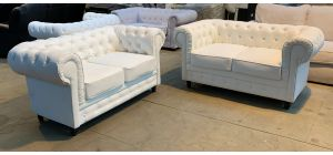 Chesterfield White Bonded Leather 2 + 2 Sofa Set Wooden Legs Ex-Display Showroom Model 46893