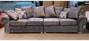 Verona Grey 4 Seater Large Fabric Sofa Chrome Legs Scatter Back Cushions Ex-Display Showroom Model 46894