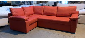 Red LHF Full PU Corner Sofa Bed With Storage And Chrome Legs - 3 Scuffs On Rear (see images) Ex-Display Showroom Model 46897