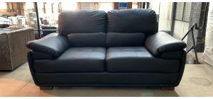 San Remo Black Leather Regular Sofa Wooden Legs Ex-Display Showroom Model 46898_489
