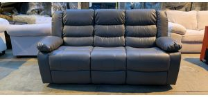 Roma Grey Bonded Leather Large Manual Recliner With Drinks Holder - Left Hand Arm Doesnt Zip On (see images) Ex-Display Showroom Model 46903