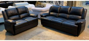 Black Bonded Leather 3 + 2 Sofa Set - Scuffs On The Back Of The Large Sofa (see images) Ex-Display Showroom Model 46904