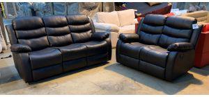 Roma Brown Bonded Leather 3 + 2 Sofa Set Manual Recliner Drinks Holder Ex-Display Showroom Model 46905