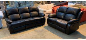 Somerton Black Leathaire 3 + 2 Sofa Set Manual Recliners Ex-Display Showroom Model 46906 (no warranty)