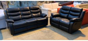 Roma Black Bonded Leather 3 + 2 Sofa Set Manual Recliner Drinks Holder 3 Seater Rear Right Few Scuffs (see images) Ex-Display Showroom Model 46908