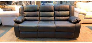 Roma Black Bonded Leather Large Sofa Manual Recliner Drinks Holder Ex-Display Showroom Model 46910